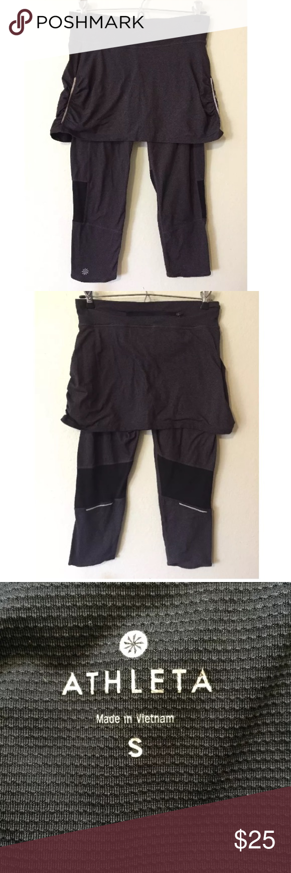 Athleta Contender leggings & skirt combo SMALL Contender capri attached athletic skirt/legging combo in a dark grey and black from Athleta. Size small. Gently worn with some signs of normal wear. Wear to the elastic on the sides of the skirt. See pictures, please. Athleta Pants Capris