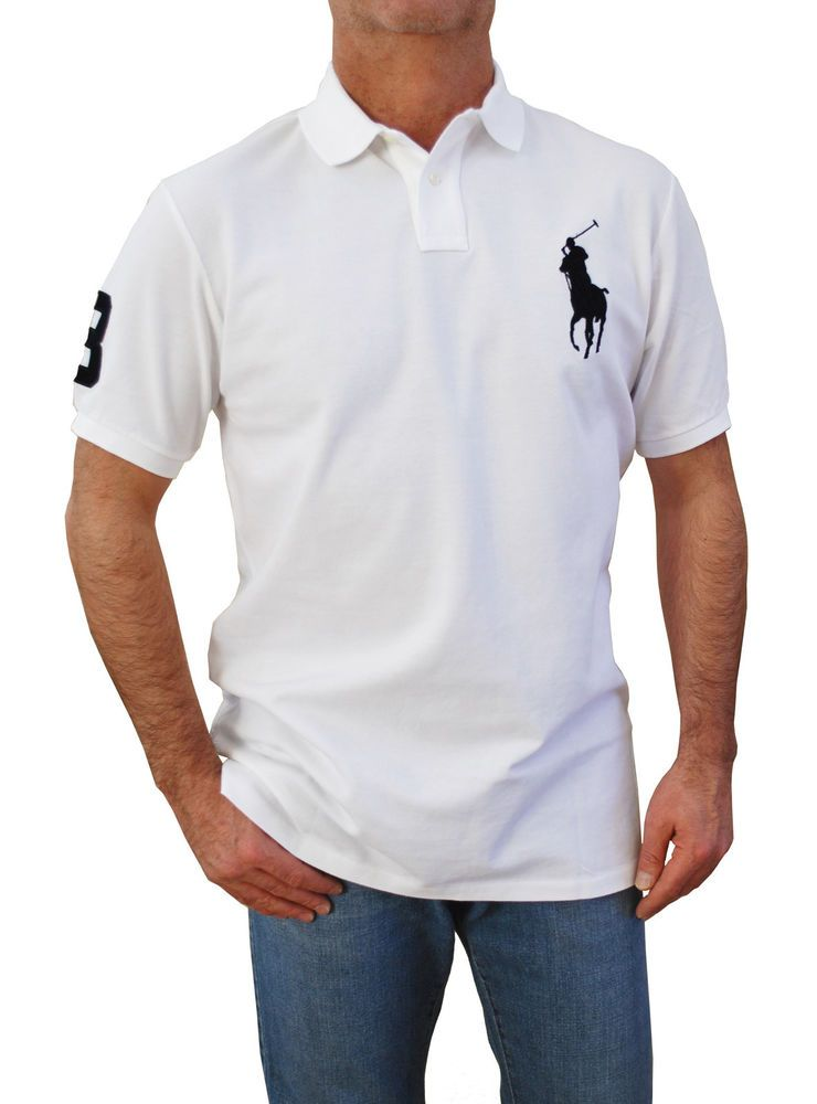 440e9fbf0ad444 Polo Ralph Lauren Men`s Custom Fit Big Pony Polo Shirts White (Big-Tall  Large)