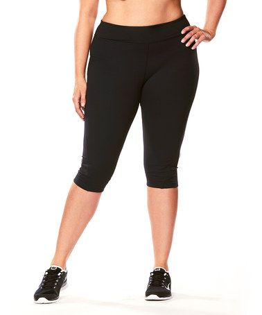Another great find on #zulily! Black Signature Capri Leggings - Plus #zulilyfinds