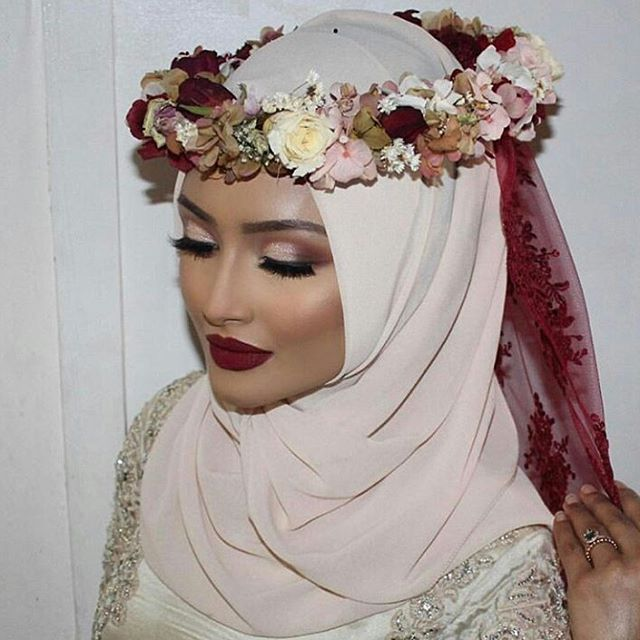 How to flower wear crown with hijab forecasting dress in autumn in 2019