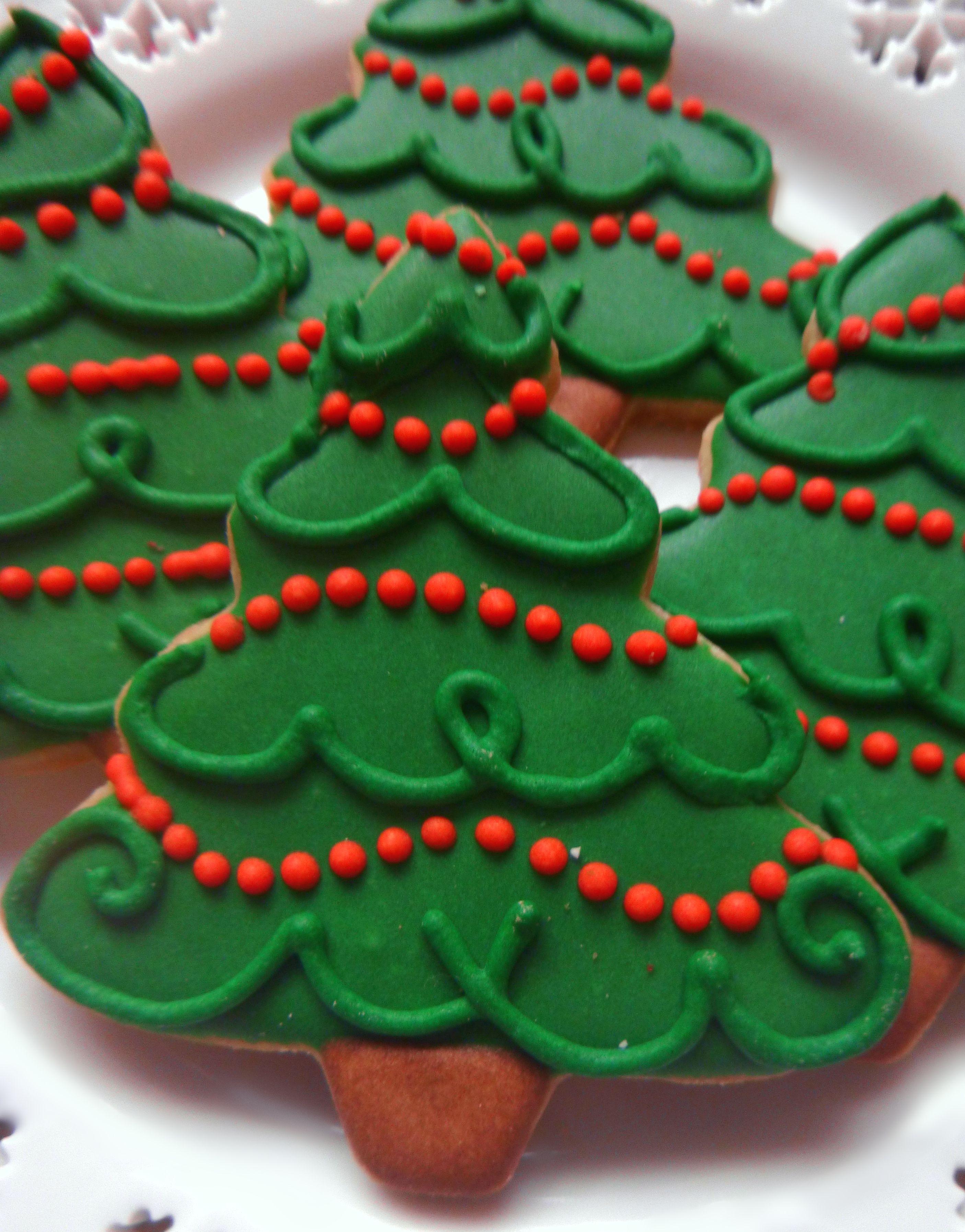 Christmas Tree Sugar Cookies Etsy Com Shop Lindseyhudek Christmas Sugar Cookies Cookie Decorating Xmas Cookies