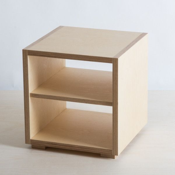Birch Plywood Bedside Table Cabinet With Shelf The