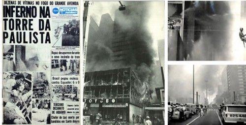 Imagens do incêndio no Grande Avenida, com bombeiros salvando pessoas. Fotos: folhapress