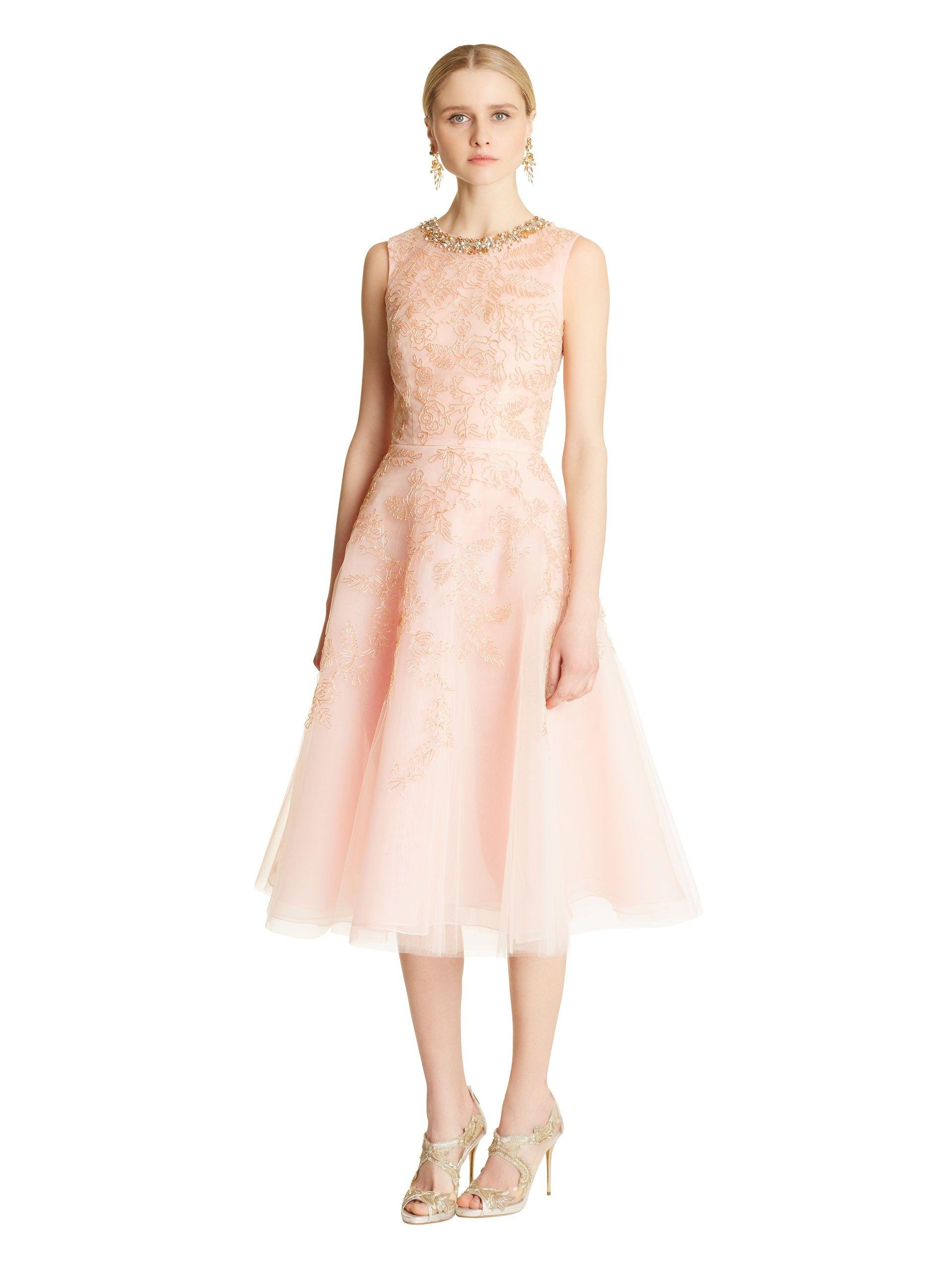 Oscar de la Renta - Lamé Floral Cord Embroidered Tulle Dress