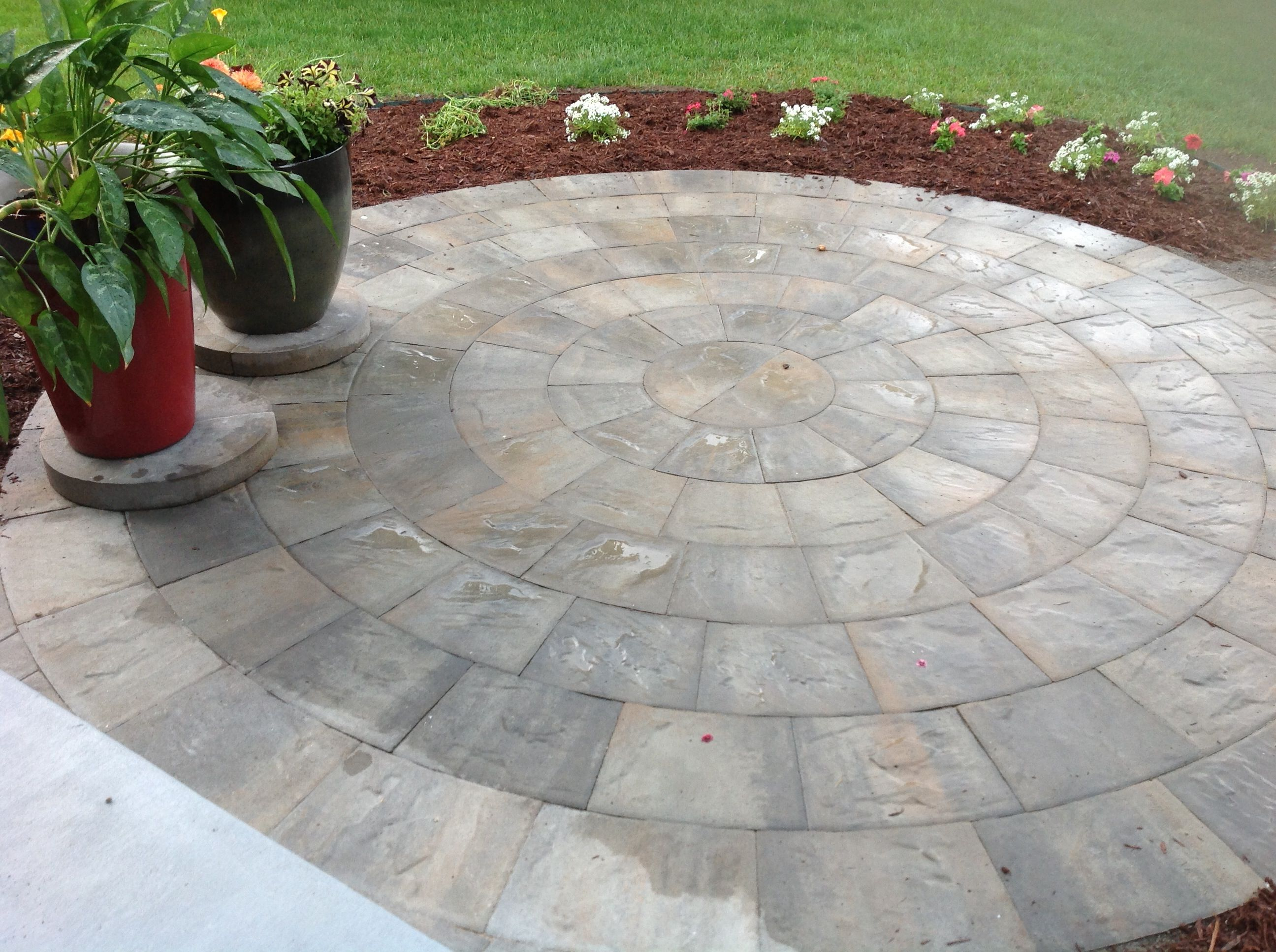 New Front Walkway 10 Foot Paver Circle Patio Front Walkway Wrap Around Porch