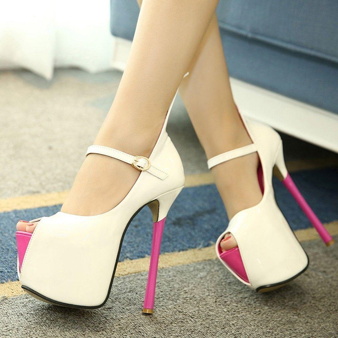 08d79546da Classy Contrast Color Peep Toe Platform Heels | Heels shoes | Heels ...