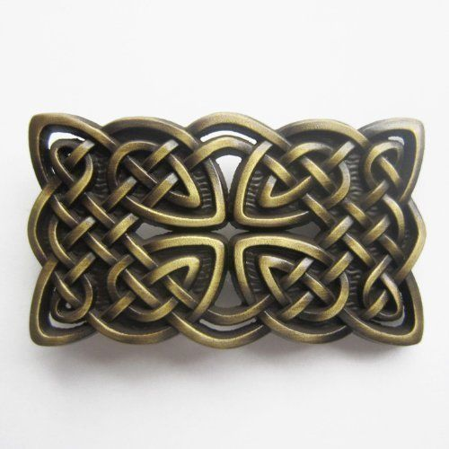 3D Celtic Knot Bronze belt Buckle Irish detalied