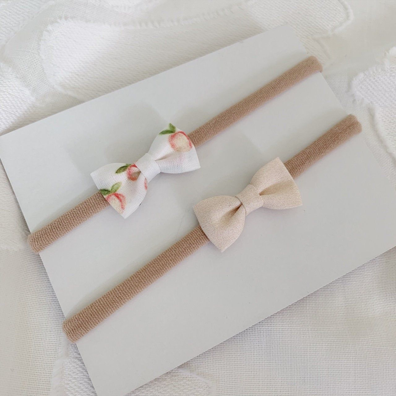 Itty Bitty Peaches and Cream Bows, NICU, Tiny Bows, preemie girl, preemie headbands, preemie bows, preemie baby girl headband, preemie, gift