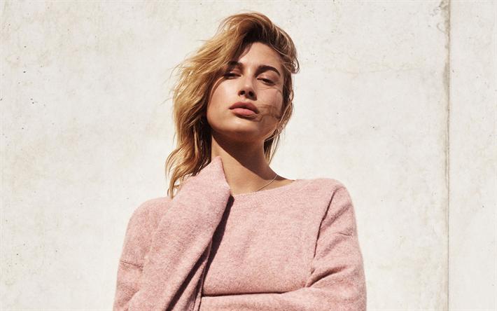 Claudia Schiffer · Modelos · Descargar fondos de pantalla Hailey Baldwin,  4k, sesión de fotos, de color rosa 9526e5ef2540