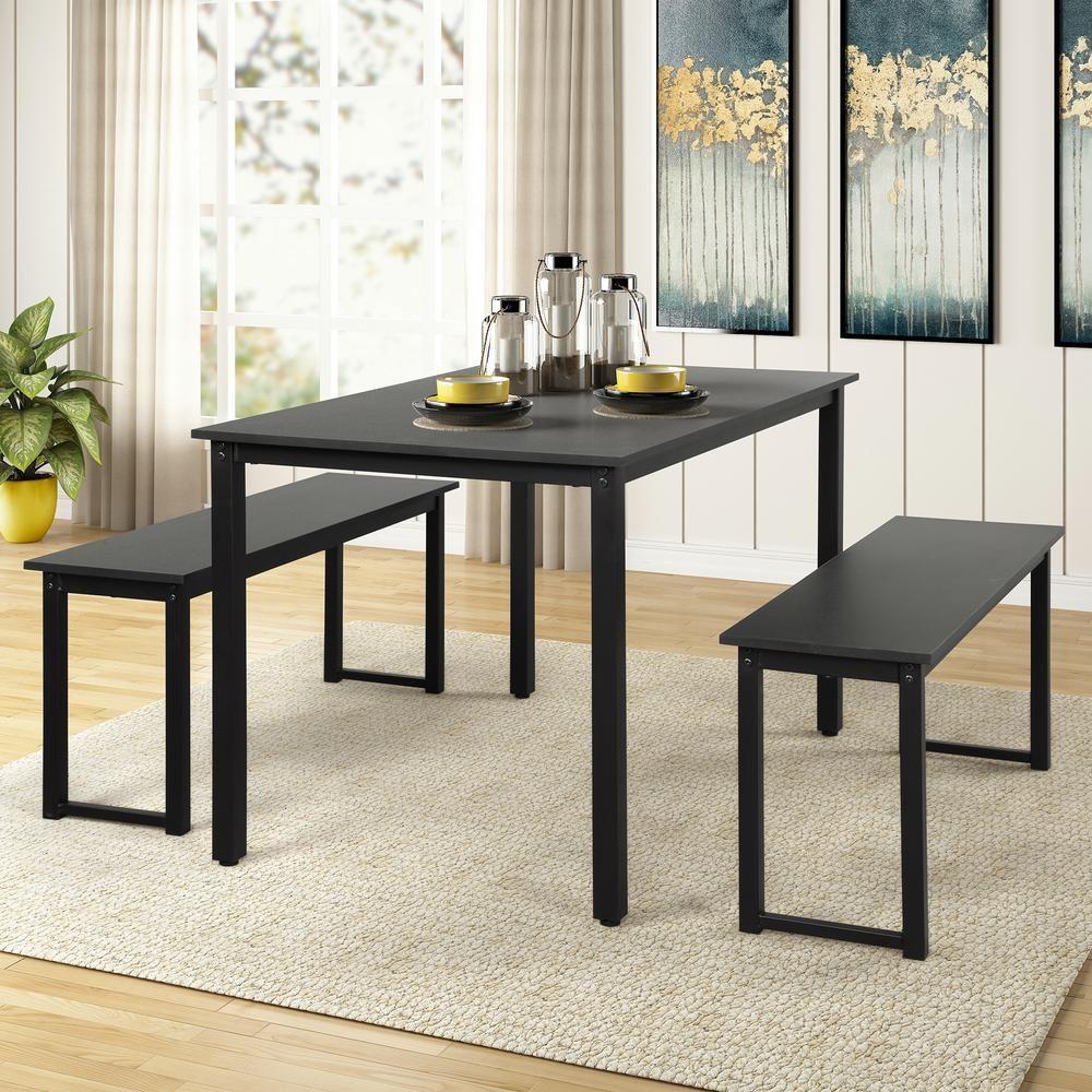 Harper Bright Designs 3 Piece Black Dining Table Set With 2 Benches Dining Table Black Black Dining Table Set Dining Table Setting