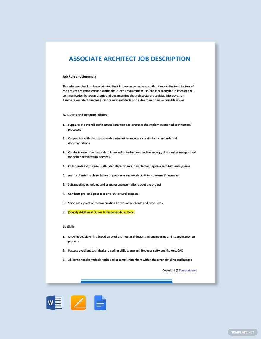 Free Associate Architect Job Description Template Google Docs Word Template Net Job Description Template Job Description Jobs For Teachers Job description template google docs