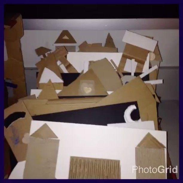 Makers gonna make!  #kidsart #5thgrade #iloveart #cardboardart #bethechange #recycledart