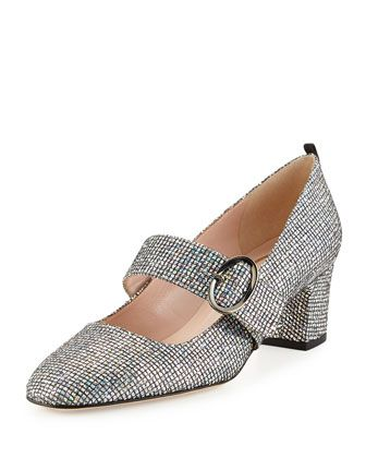 Tartt+Sparkly+Mary+Jane+Pump,+Black/Silver+by+SJP+by+Sarah+Jessica+Parker+at+Neiman+Marcus.