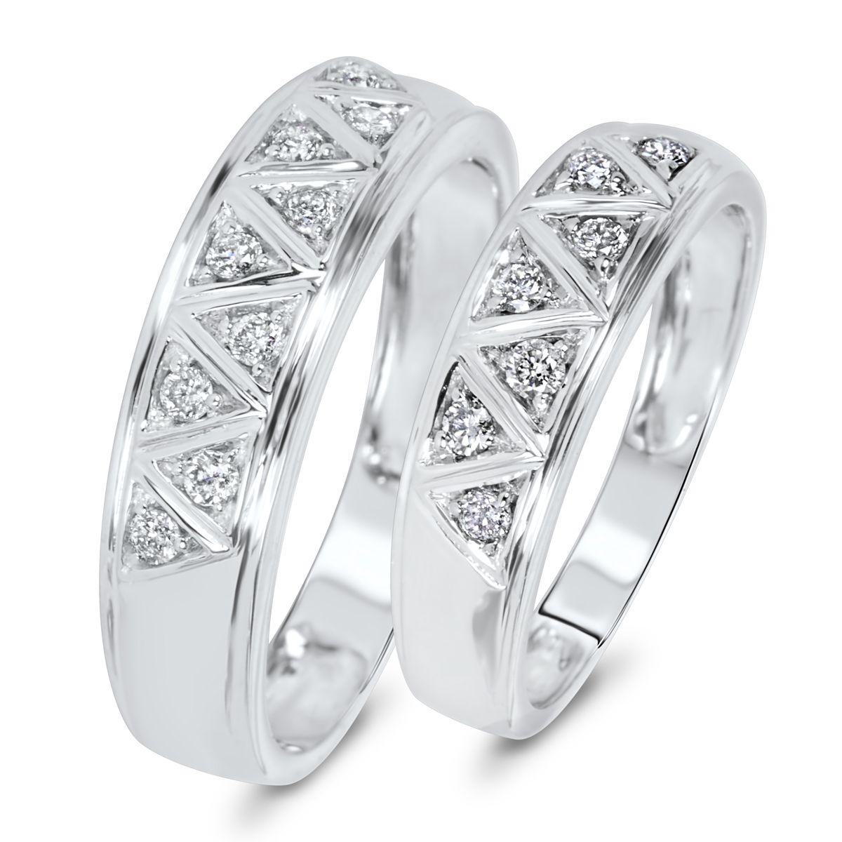 13 carat tw diamond his and hers wedding band set 14k