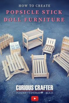 This video by Curious Crafter shows how to create 8 cute miniature dollhouse furniture pieces using popsicle sticks. #dollfurniture