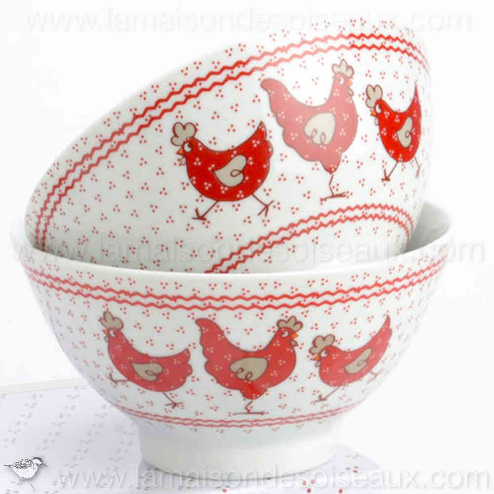 lot de 2 bols poules rouges en porcelaine chicken. Black Bedroom Furniture Sets. Home Design Ideas