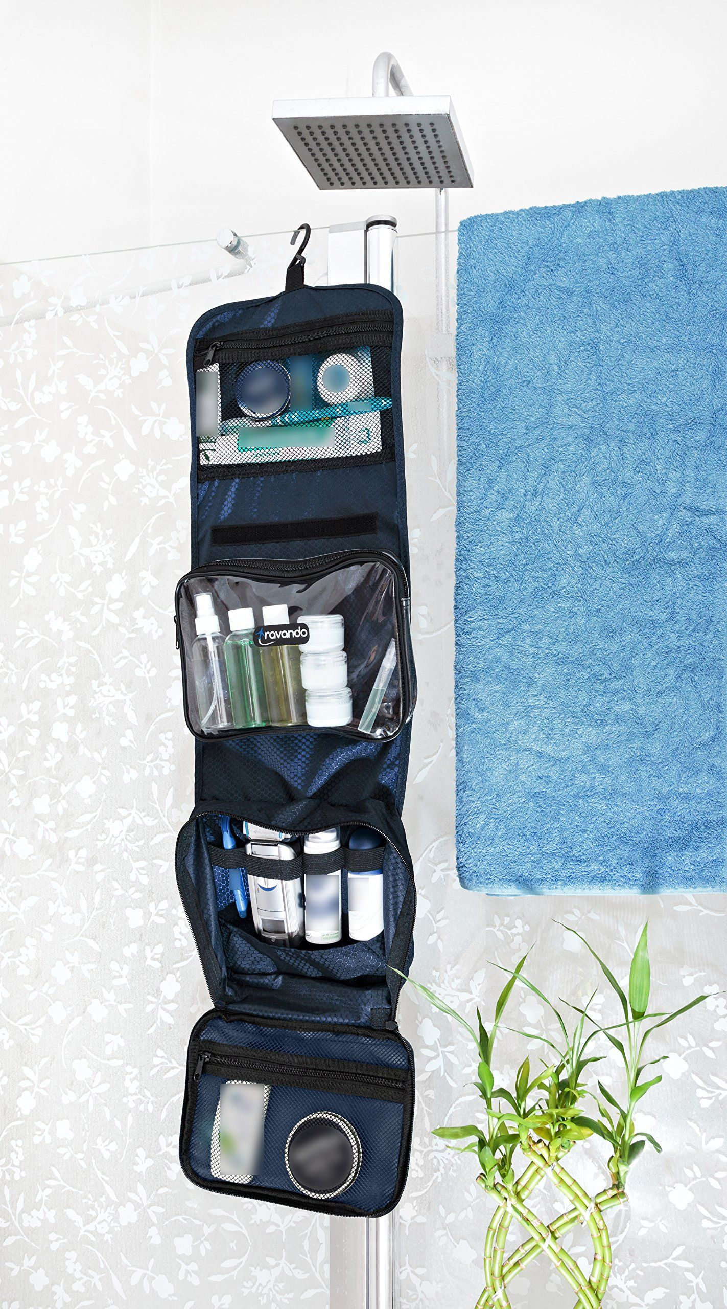 TRAVANDO Hanging Toiletry Bag FLEXI 7 Containers for