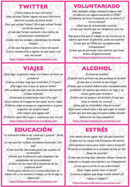 48 Tarjetas Para Clase De Conversación Conversacion En Español Aprender Español Actividades Para Clase De Español