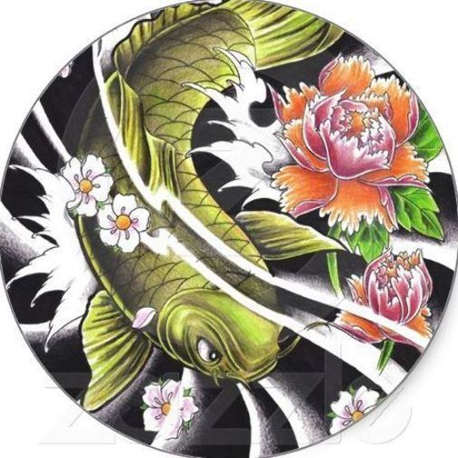 SOLD! Cool oriental japanese ink lucky koi fish tattoo stickers $5.95