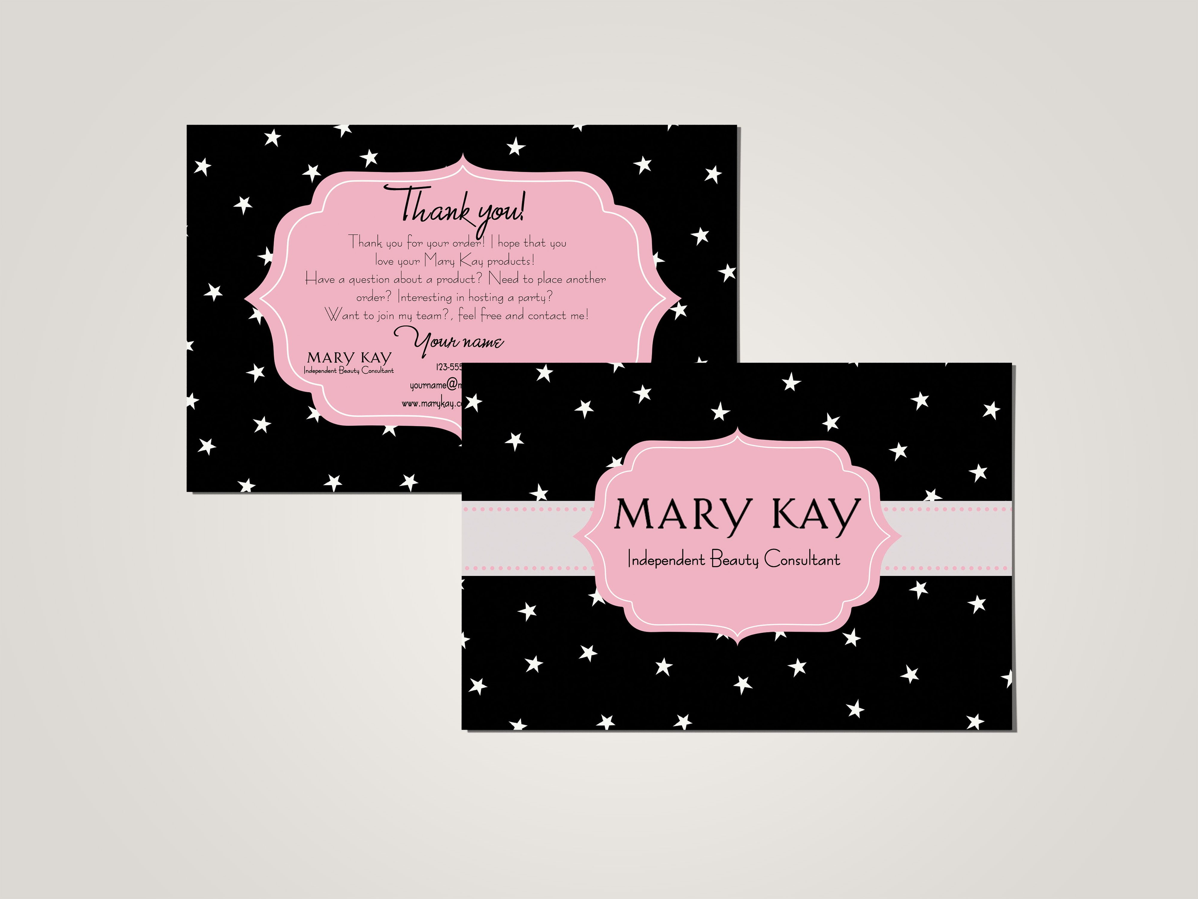 thank you card printed stars mary kay pinterest