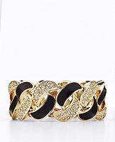 """Studio Pave Bracelet - From our Studio collection. Intricate detailing and pops of color add visual interest to day and evening ensembles. The answer for everyday glamour, dramatically defined with swirls of polished enamel and sparkly pave for a dazzling statement. Hidden stretch. 1 1/2"""" width."""