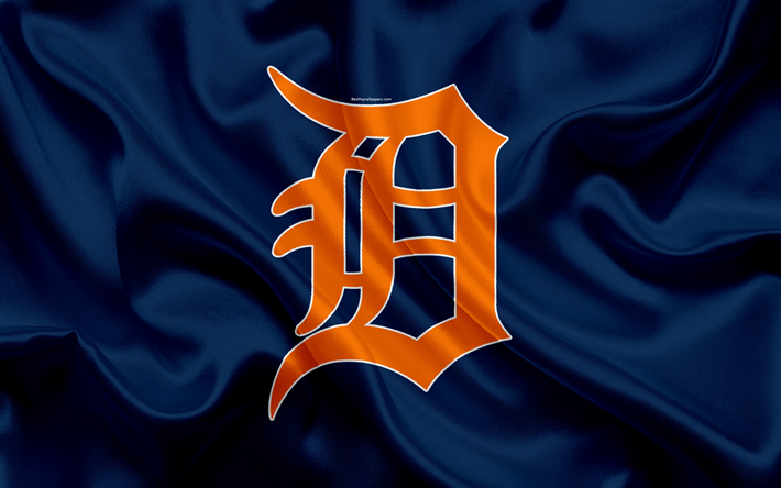 Download Wallpapers Detroit Tigers 4k Logo Silk Texture American Baseball Club Blue Flag Emblem Mlb Detroit Michigan Usa Major League Baseball Detroit Tigers Major League Flag