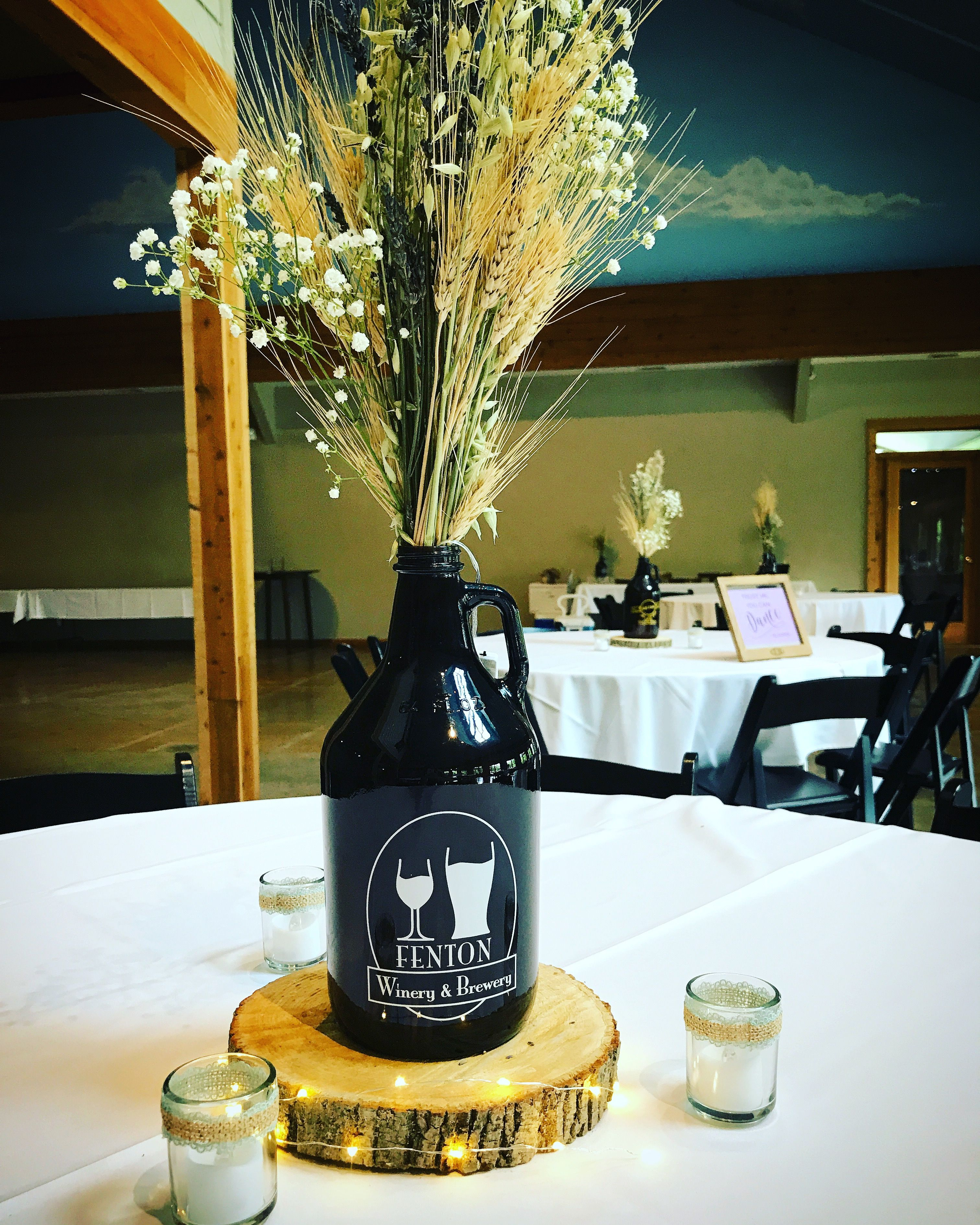 Growler with harvested grains for a centerpiece. Adds a