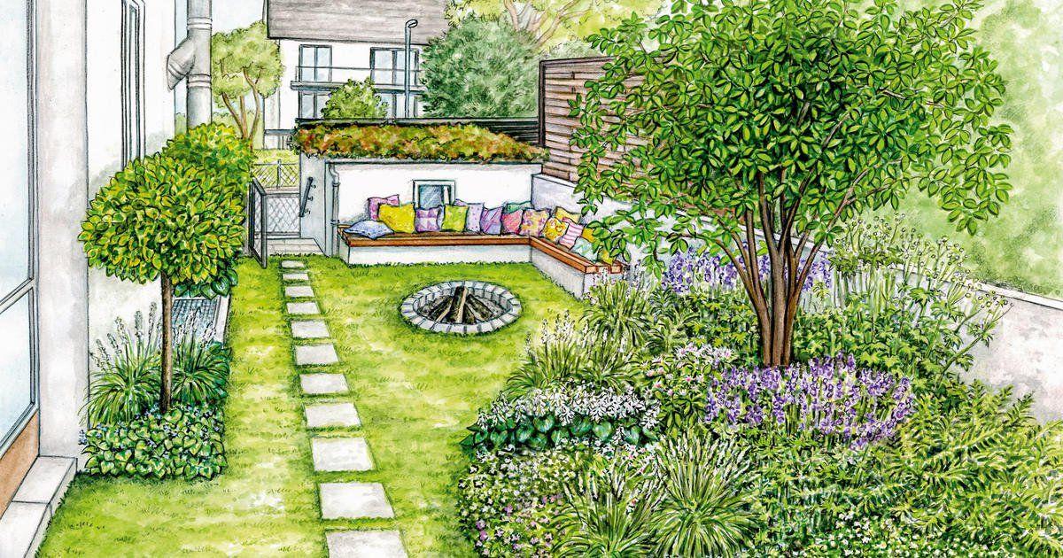 1 Garten 2 Ideen Fur Ein Gartenstuck An Einer Hausseite In 2020 Bepflanzung Gartengestaltung Schmaler Garten