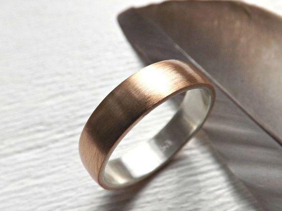 Mens Bronze Wedding Ring Domed Bronze Ring Silver Mens Ring Etsy In 2021 Mens Wedding Bands Mens Wedding Rings Wedding Rings