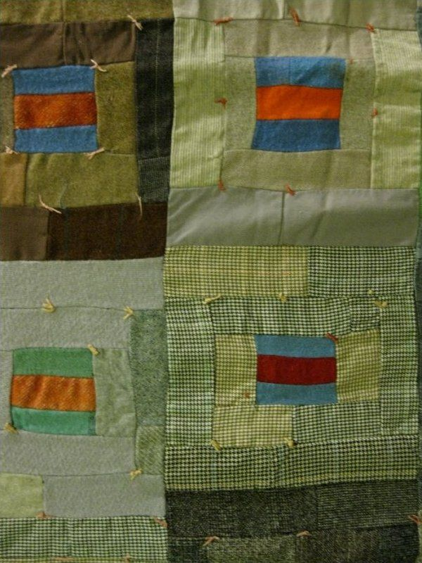 Collected in Akron Ohio, this quilt pieced of wool suiting strips is a personal interpretation of a log cabin or basketweave block, simple in execution but one I have never seen before. Tied rather than quilted through to anchor the layers, but not heavy despite the suiting fabrics in it. Supple and varied in the many fabrics and weaves.