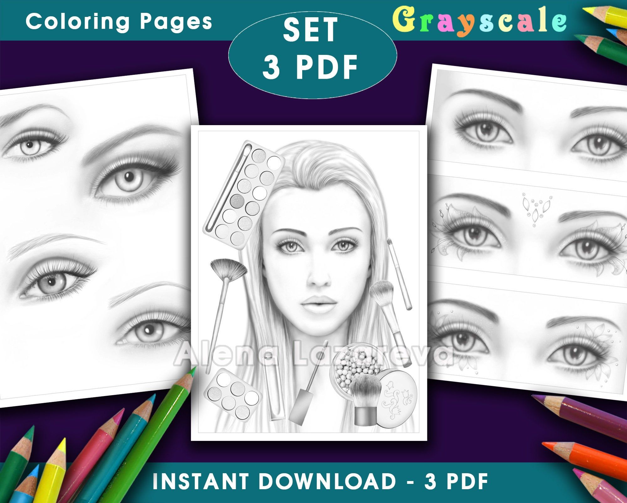 Coloring Pages 3 Pdf Grayscale Makeup Eyes Fashion Life Etsy Coloring Pages Grayscale Coloring Books Grayscale Coloring