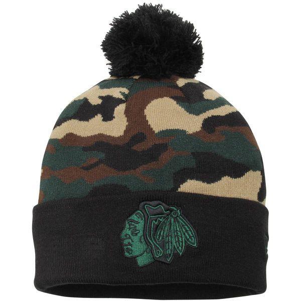 e3e91492cbcd47 ... top quality chicago blackhawks new era camo top 2 woodland knit beanie  black camo a0426 4d28f