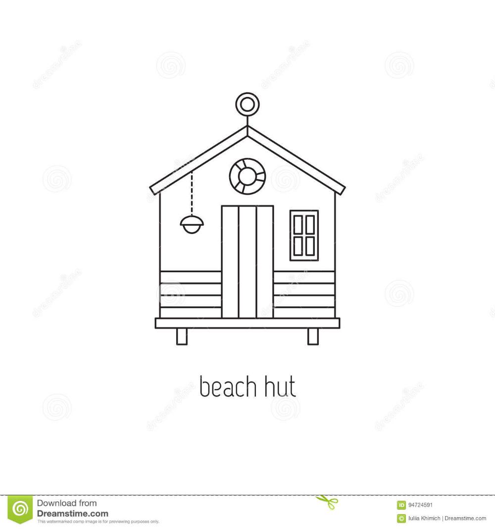 Beach Hut Line Icon Stock Vector In 2021 Beach Hut Line Icon Hut
