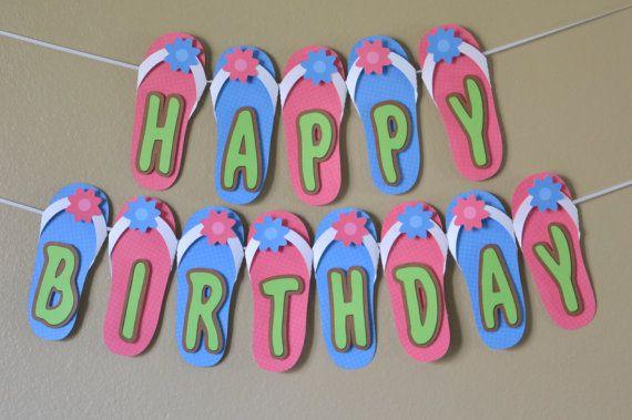 FlipFlop Birthday Banner 3D  CUSTOM Message 18 by bcpaperdesigns, $35.00