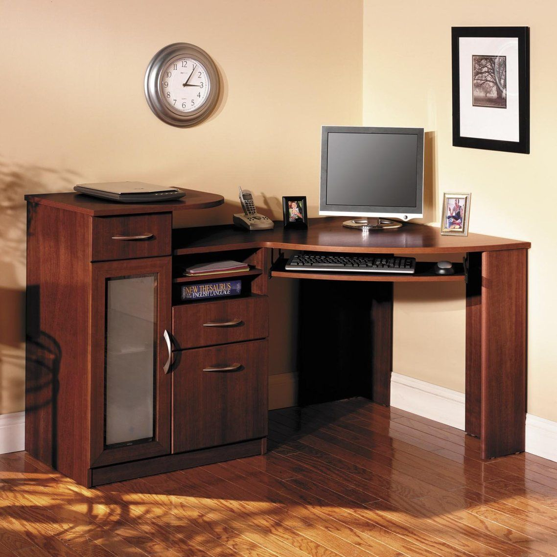 sauder corner computer desk real wood home office furniture