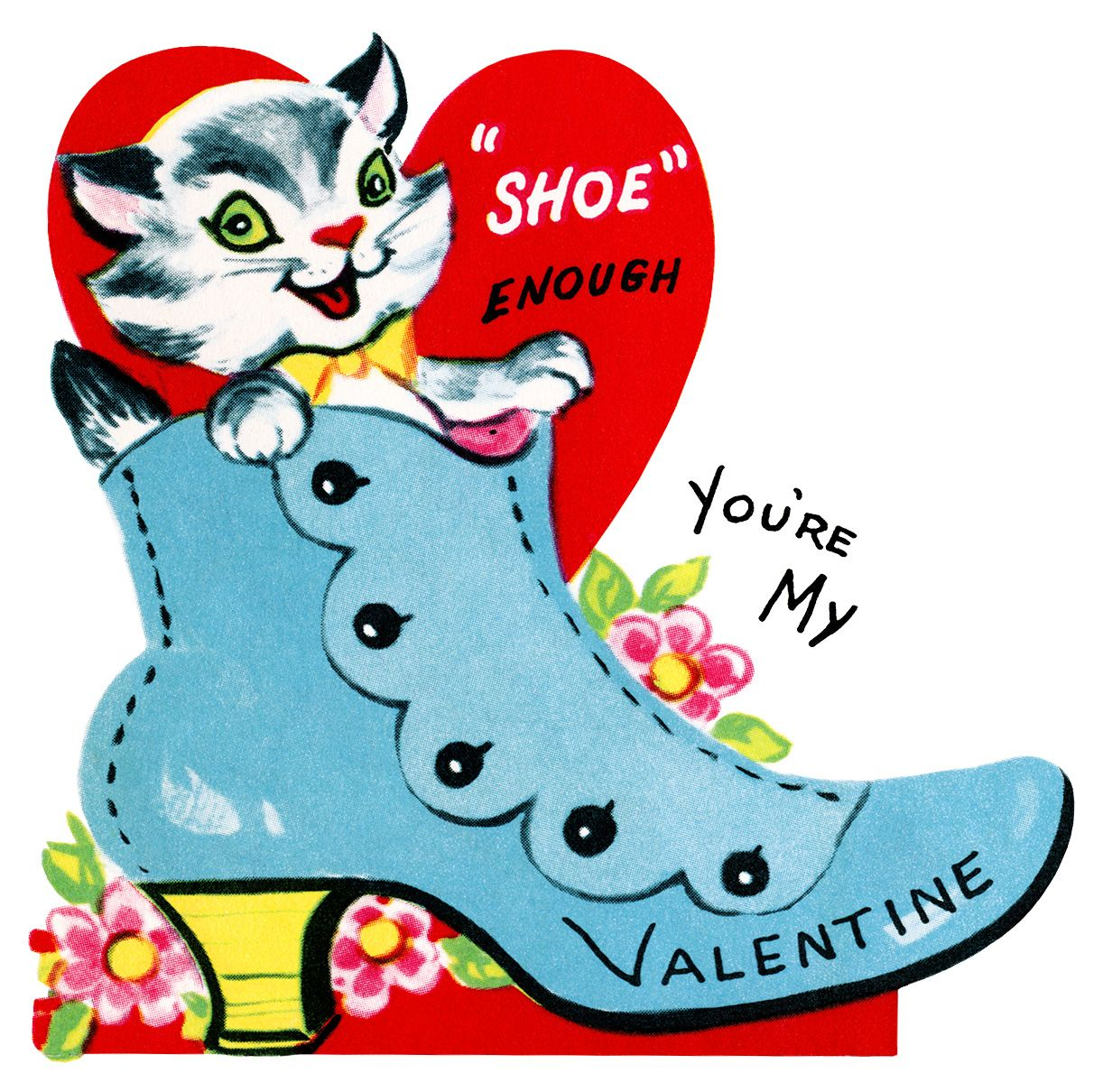 Clip Art Valentine Clip Art Free Printable kitten in shoe valentine vintage clip art retro card printable valentines