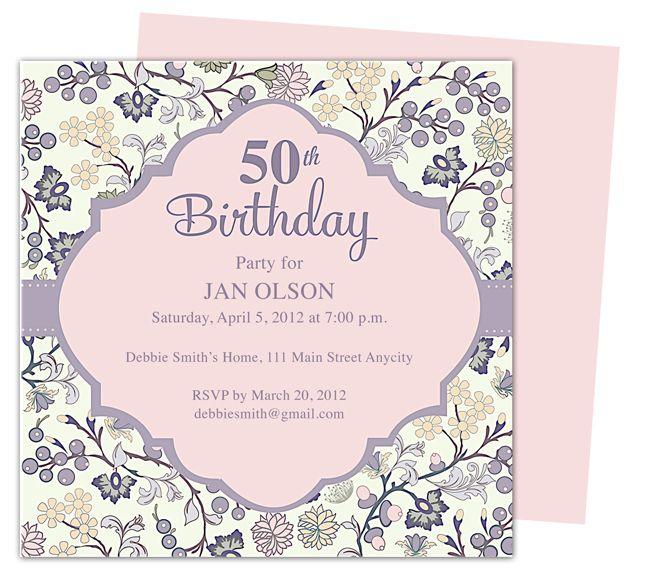 Beautiful And Elegant 50th Birthday Party Invitations: Templates Edit With  Word, Publsher, Apple  Microsoft Word Birthday Invitation Templates