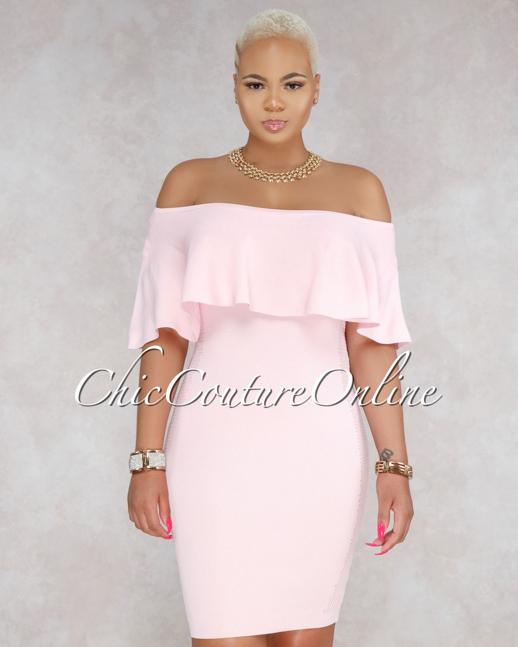71ccca134098 Chic Couture Online - Sonnie Light Pink Ruffle Off The Shoulder Dress