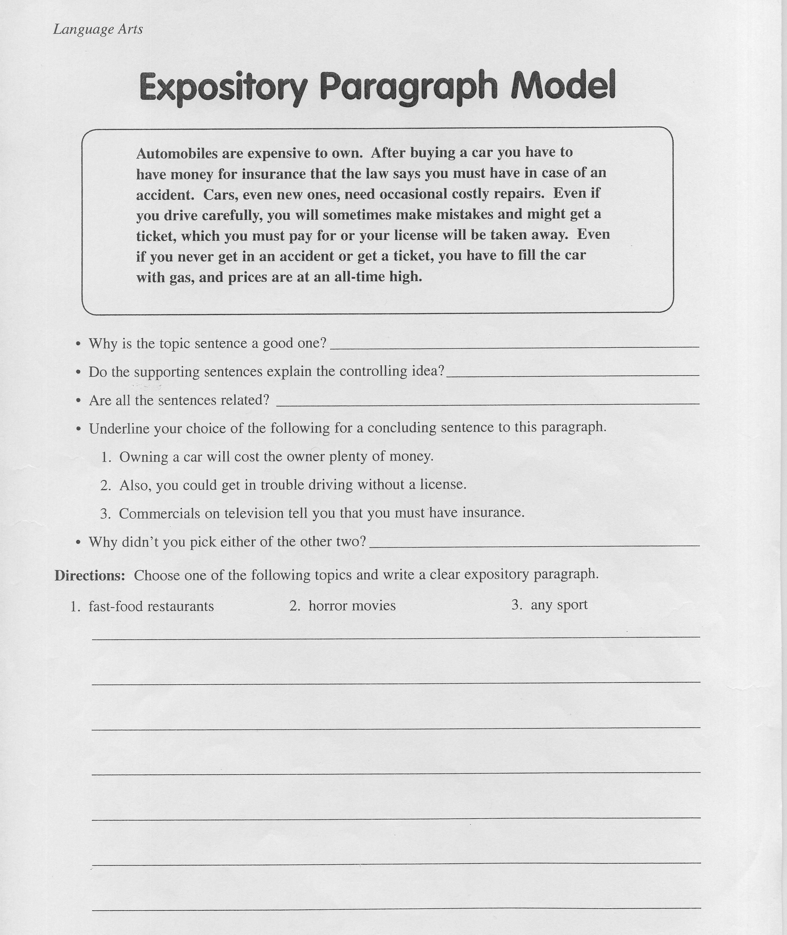 Expository Essay Topics For 6th Graders