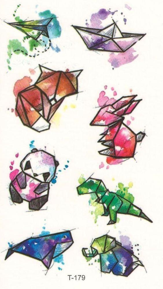 Mini Animal Temporary Tattoo – Kleine Mini-Version Fractal Aquarell Tiere Tem #tattootatuagem  tattoo tatuagem #besttattooideas – diy best tattoo ideas