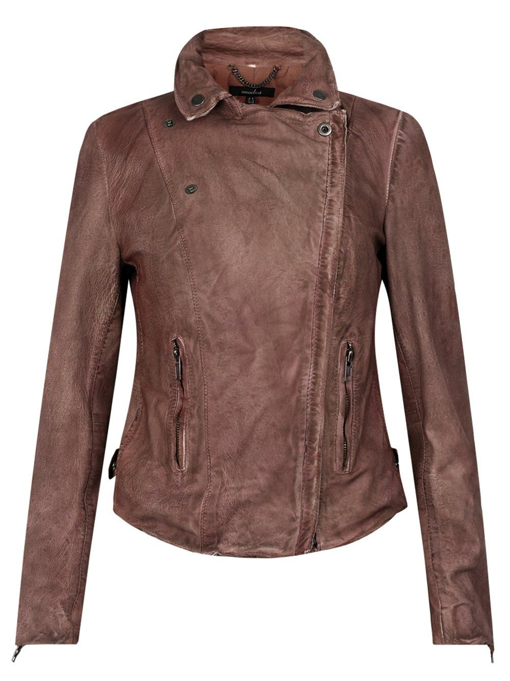 Monteria Leather Biker Jacket in Burnet | Hair Clothes
