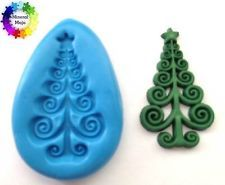 Scroll Xmas Tree Christmas Silicone Mould Cupcake Card Topper, Fimo, Sugarcraft