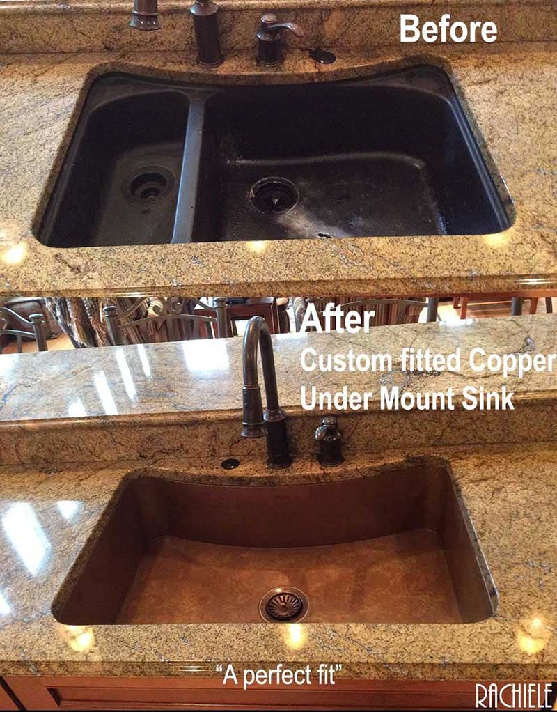 Replacing A Double Bowl Sink With A Single Bowl Copper Sink By