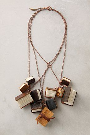 necklace made out of little books perfect for lovers of books and jewelry