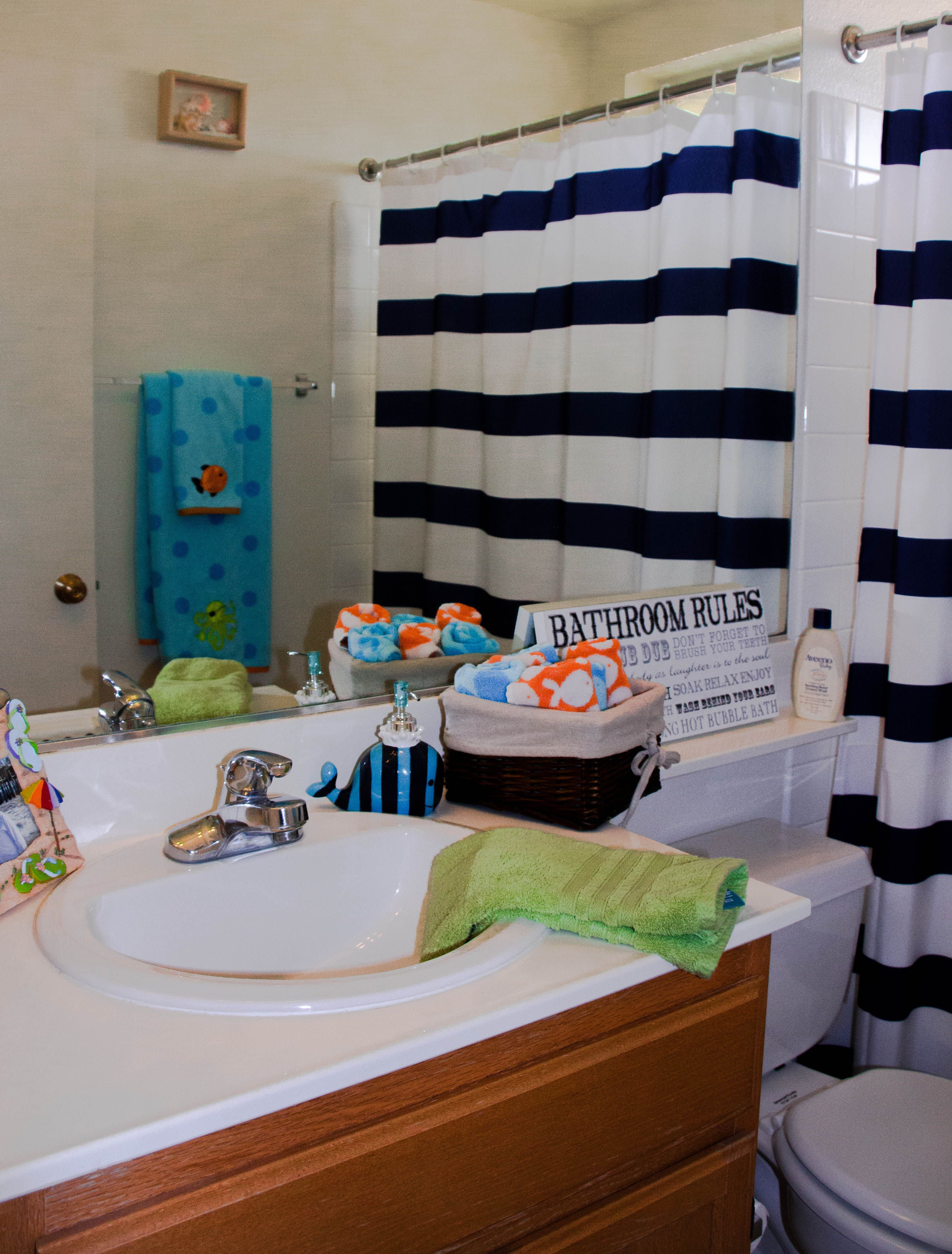 Beach themed kids bathroom All things purchased from Tar and