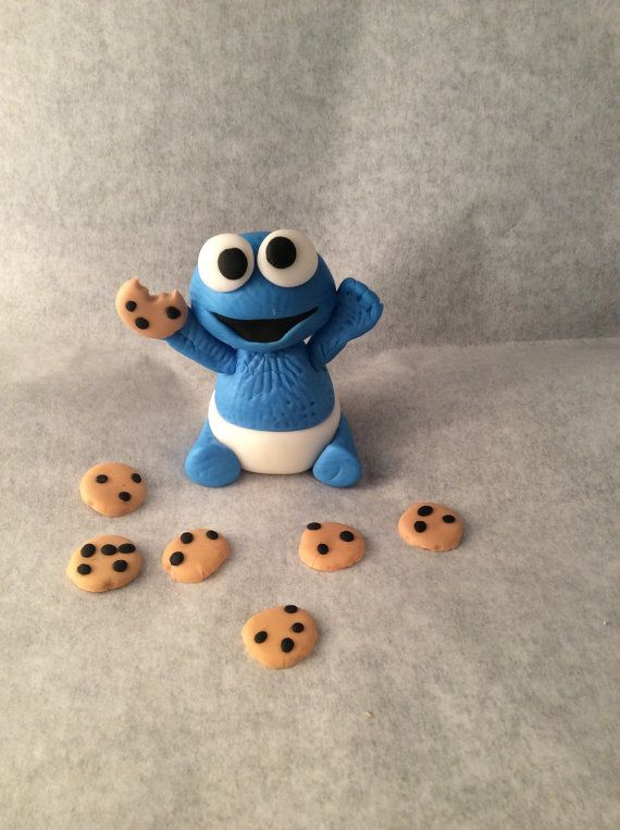 Fondant Baby Cookie Monster Cake Topper by ToppersbyAlma on Etsy