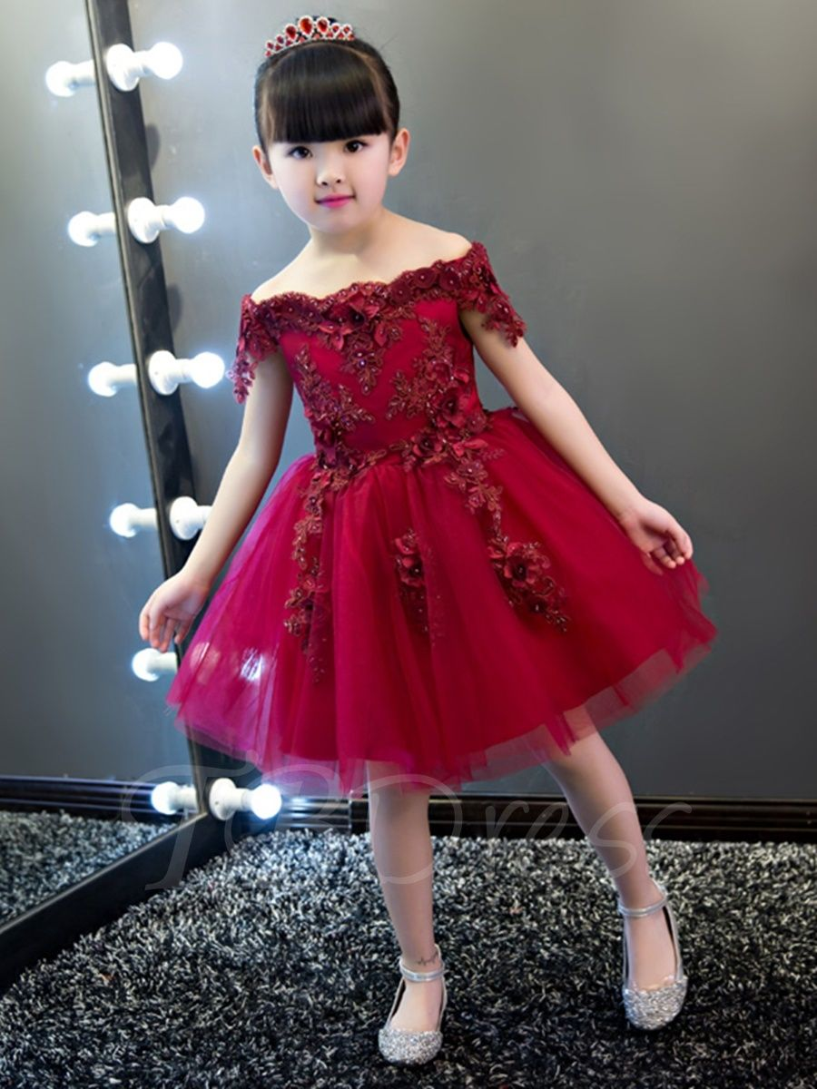 39d547b0977 Tbdress.com offers high quality Off-The-Shoulder Short Sleeves Knee-Length  Flower Girl Dress 2016 Flower Girl Dresses unit price of   103.54.