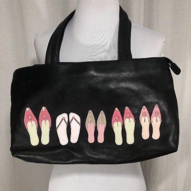 Radley Of London Black Leather Purse Embroidered Shoes Dog Logo On Back Shoulderbag