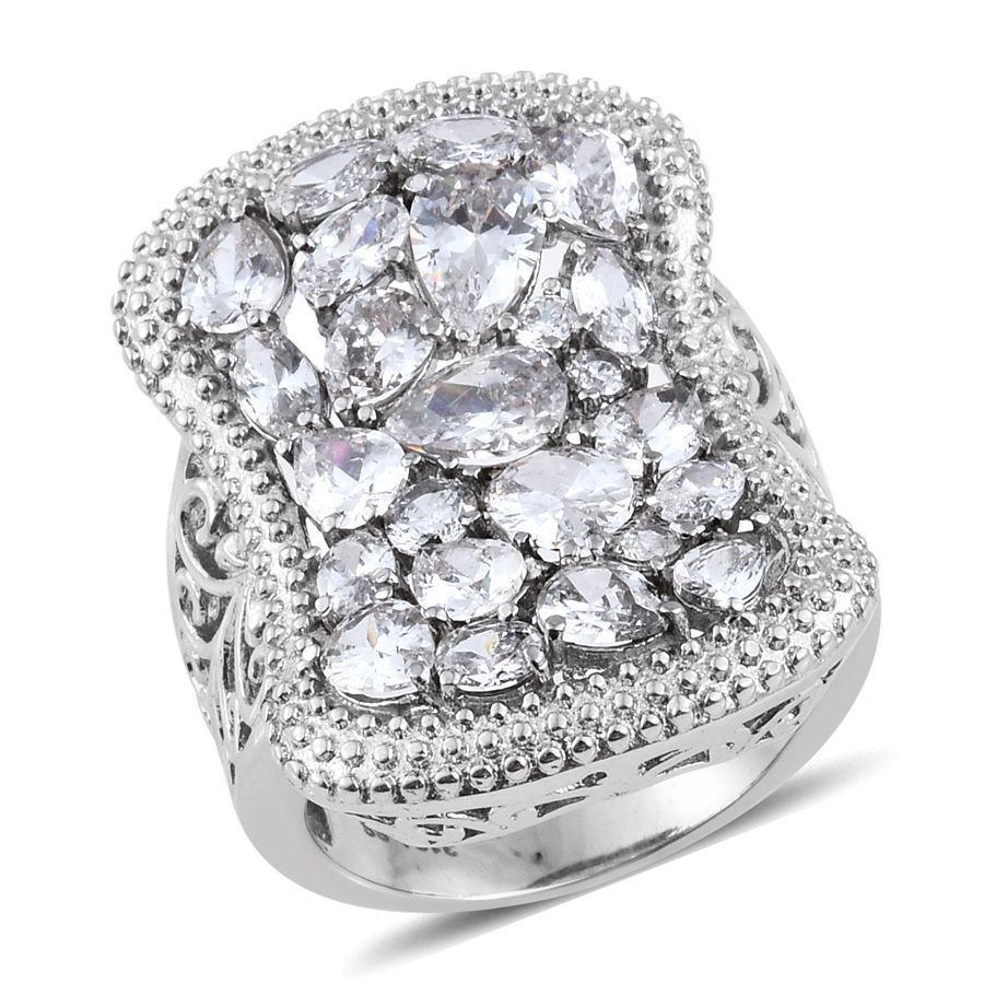 Diamond White Vvs Clear Simulated Diamond Steel Hypoallergenic Statement  Ring 5 #l2d #statement