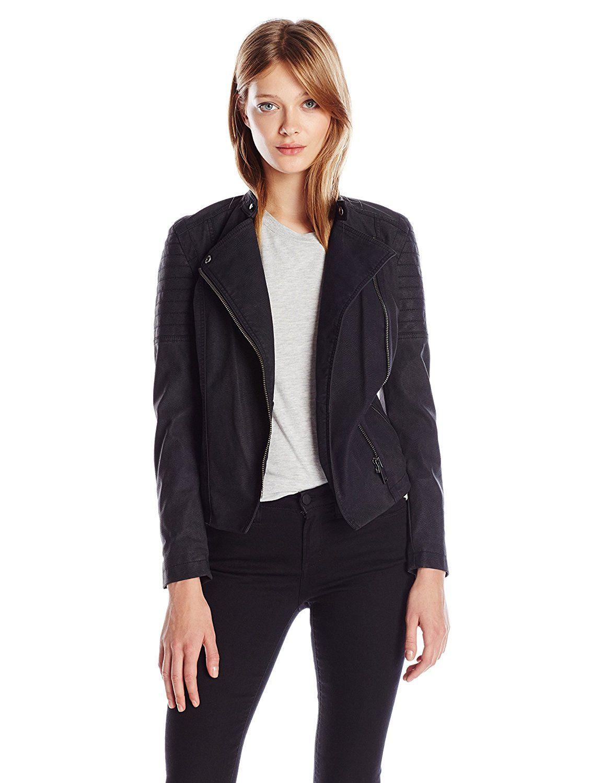 Calvin Klein Elephant Skin Faux Leather Biker Jacket